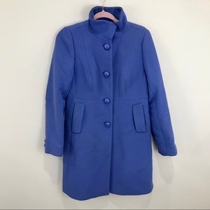 J. CREW Blue Wool Dress Lady Day Coat Size 8